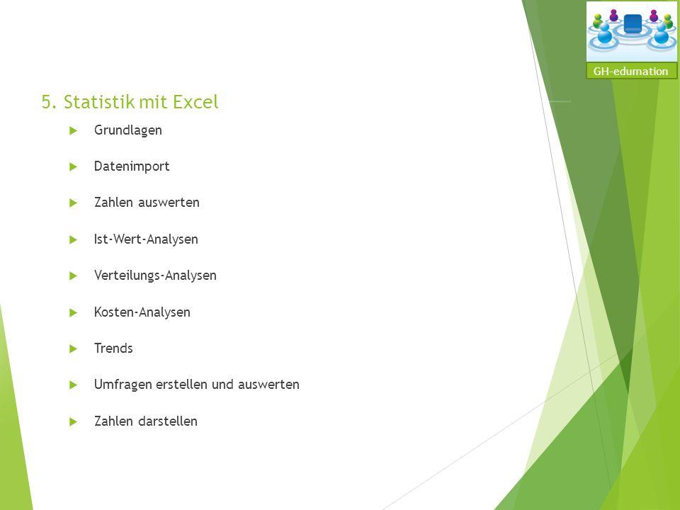 5. Statistik mit Excel Grundlagen Datenimport Zahlen auswerten