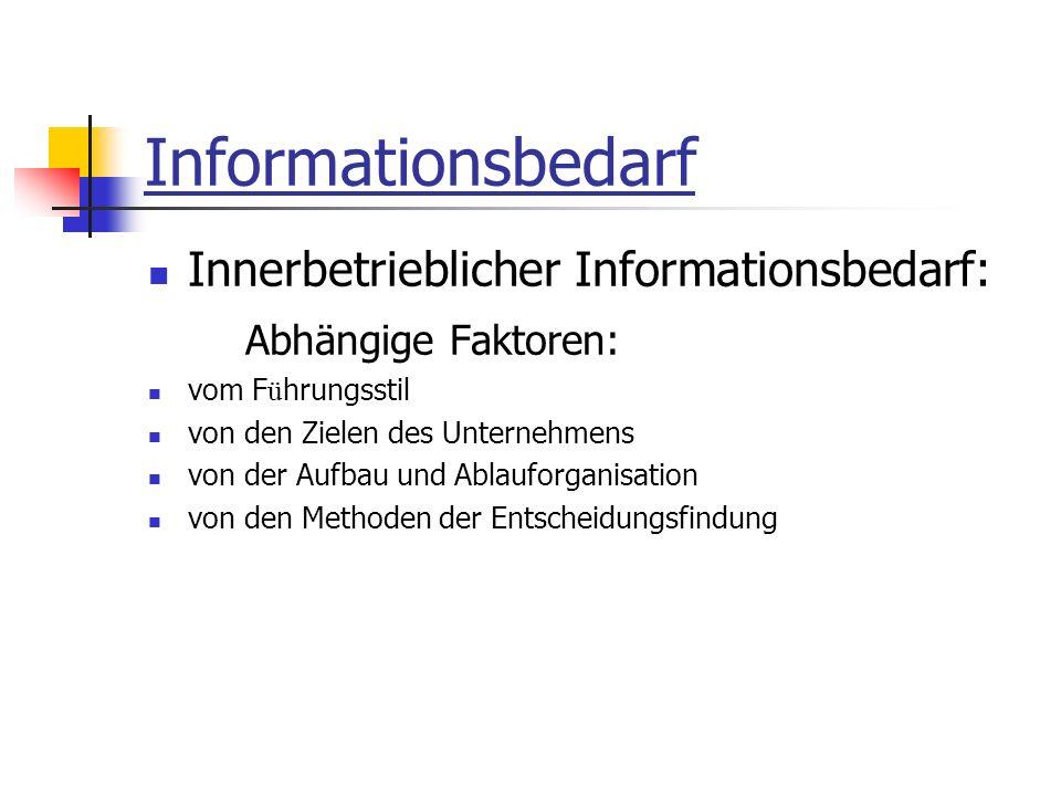 Informationsbedarf Innerbetrieblicher Informationsbedarf: