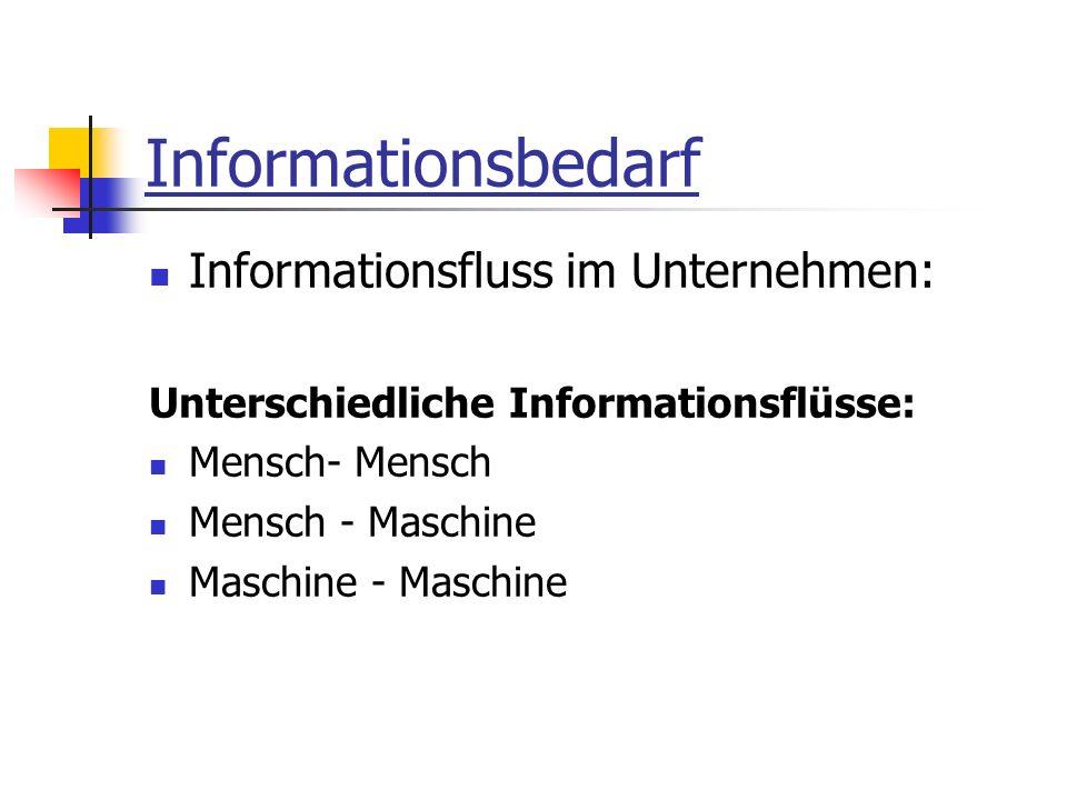 Informationsbedarf Informationsfluss im Unternehmen: