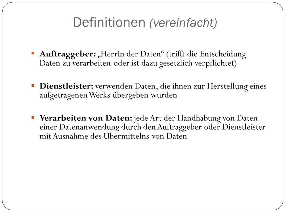 Definitionen (vereinfacht)