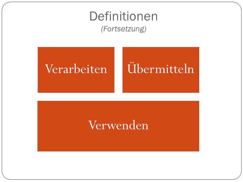 Definitionen (Fortsetzung)