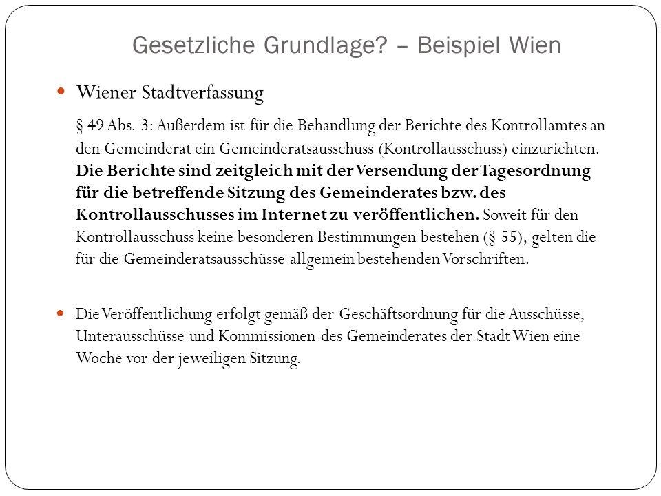 Gesetzliche Grundlage – Beispiel Wien