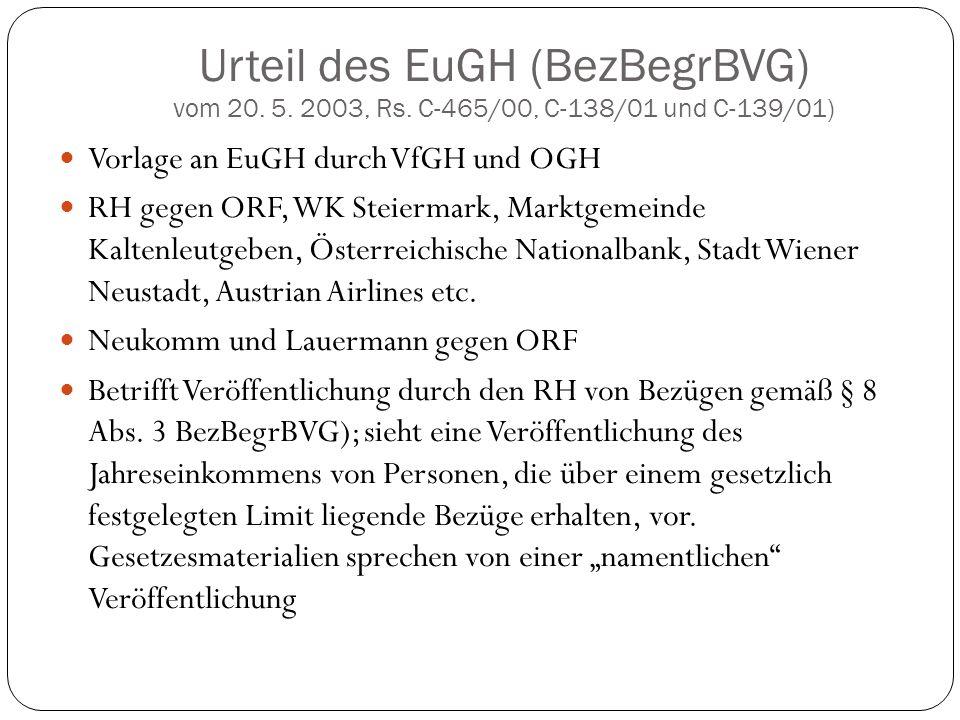 Urteil des EuGH (BezBegrBVG) vom 20. 5. 2003, Rs