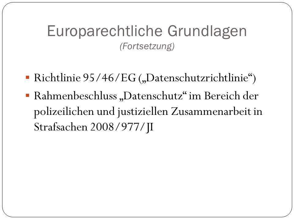 Europarechtliche Grundlagen (Fortsetzung)