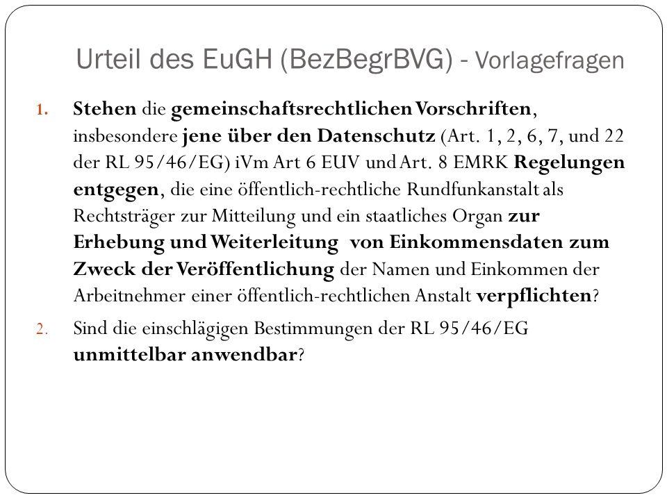 Urteil des EuGH (BezBegrBVG) - Vorlagefragen