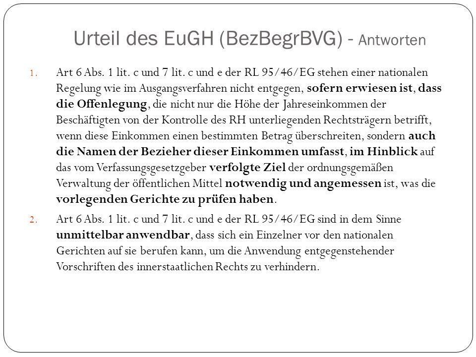 Urteil des EuGH (BezBegrBVG) - Antworten