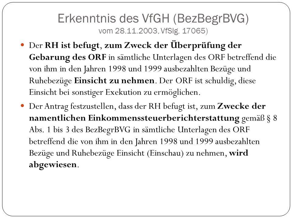 Erkenntnis des VfGH (BezBegrBVG) vom 28.11.2003, VfSlg. 17065)