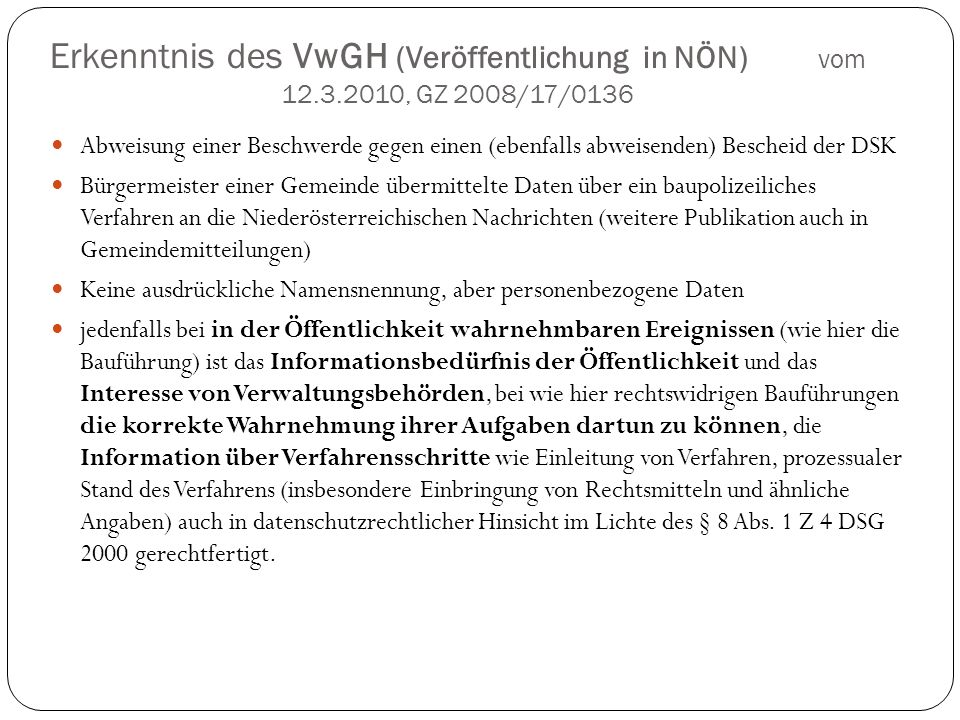 Erkenntnis des VwGH (Veröffentlichung in NÖN) vom 12. 3