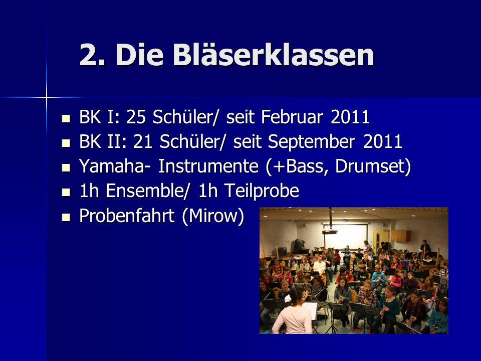2. Die Bläserklassen BK I: 25 Schüler/ seit Februar 2011
