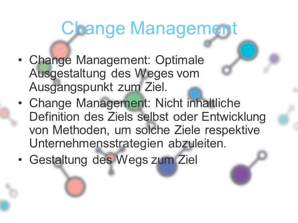 Change Management Change Management: Optimale Ausgestaltung des Weges vom Ausgangspunkt zum Ziel.