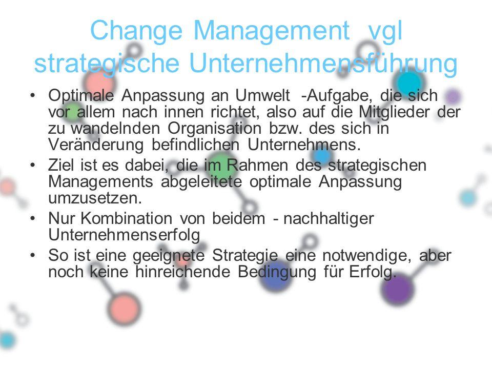 Change Management vgl strategische Unternehmensführung