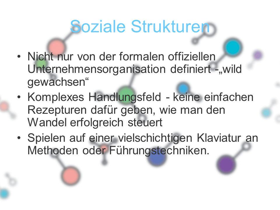 """Soziale Strukturen Nicht nur von der formalen offiziellen Unternehmensorganisation definiert -""""wild gewachsen"""