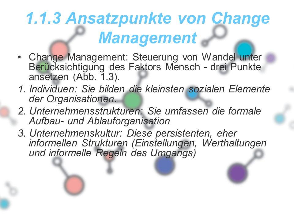 1.1.3 Ansatzpunkte von Change Management