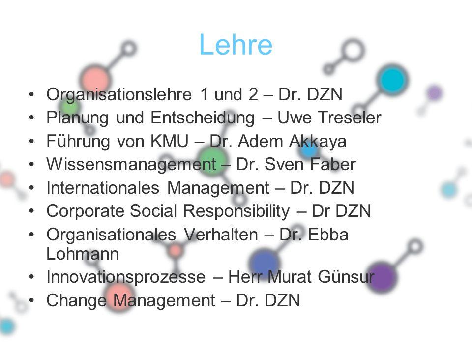 Lehre Organisationslehre 1 und 2 – Dr. DZN