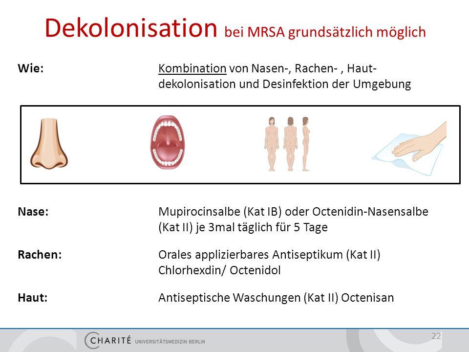 Dekolonisation Wer: Patienten mit hohem Infektionsrisiko (z.B. bei Diabetes, Immunsuppression, invasiven Maßnahmen, liegenden Devices)