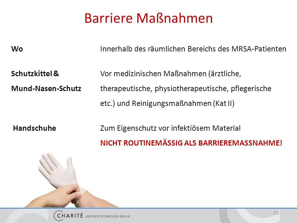 Barriere Maßnahmen Händedesinfektion (Kat II)