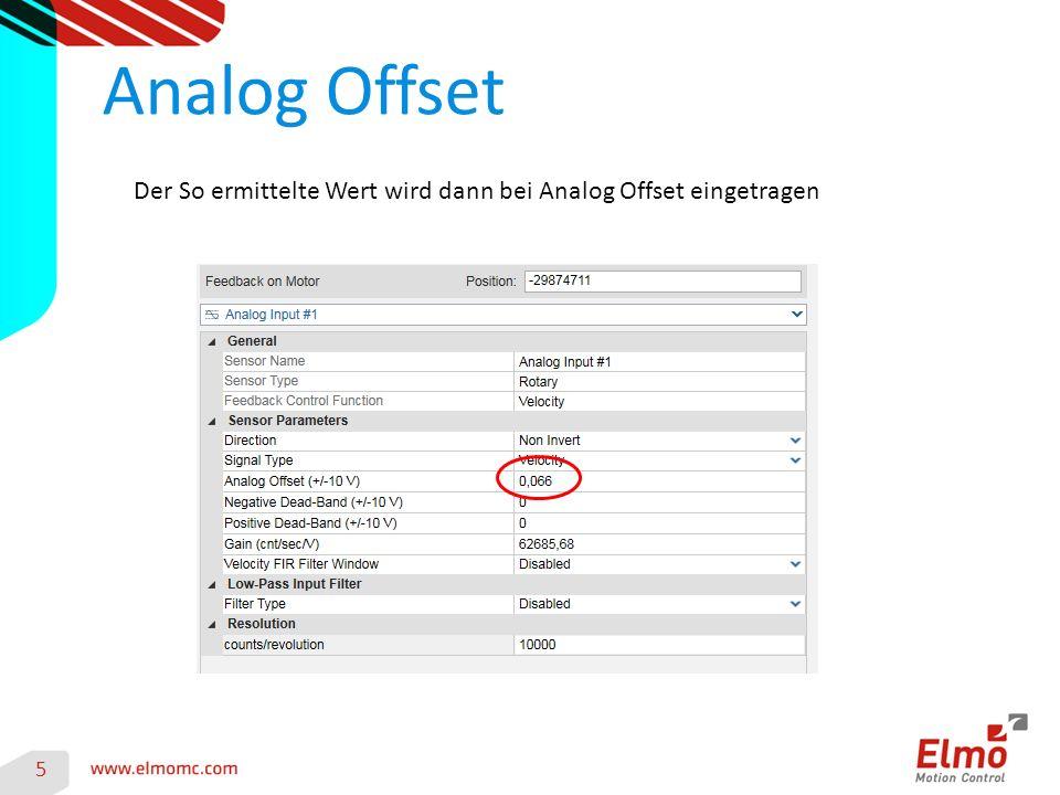 Analog Offset Der So ermittelte Wert wird dann bei Analog Offset eingetragen 5