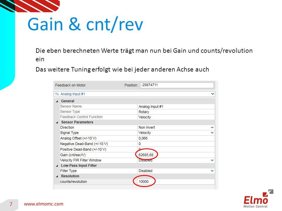 Gain & cnt/rev Die eben berechneten Werte trägt man nun bei Gain und counts/revolution ein.