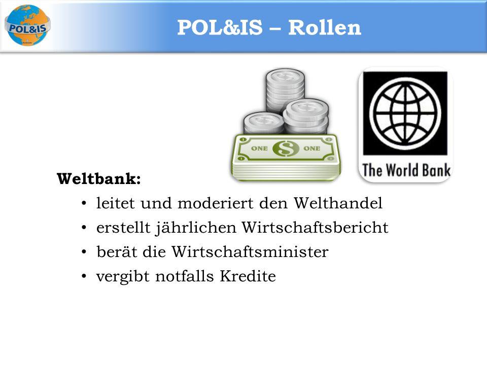 POL&IS – Rollen Weltbank: leitet und moderiert den Welthandel