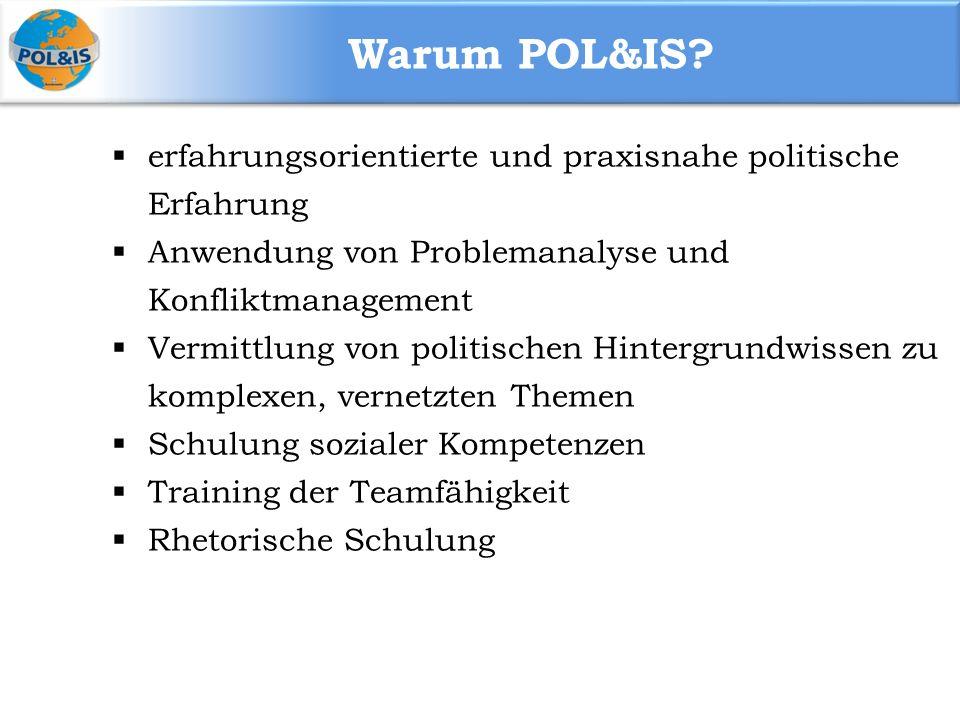 Warum POL&IS erfahrungsorientierte und praxisnahe politische Erfahrung. Anwendung von Problemanalyse und Konfliktmanagement.