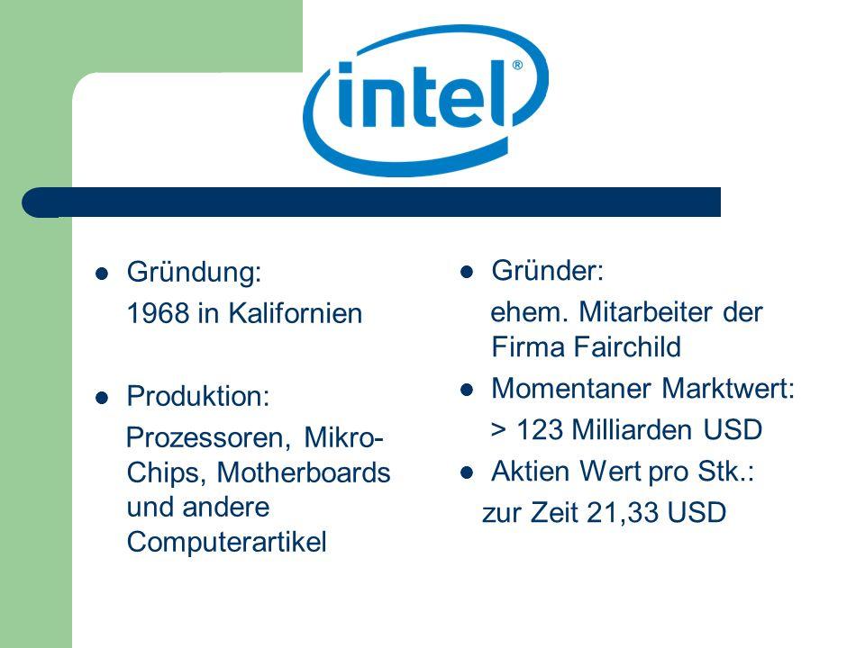 Gründung: 1968 in Kalifornien. Produktion: Prozessoren, Mikro-Chips, Motherboards und andere Computerartikel.