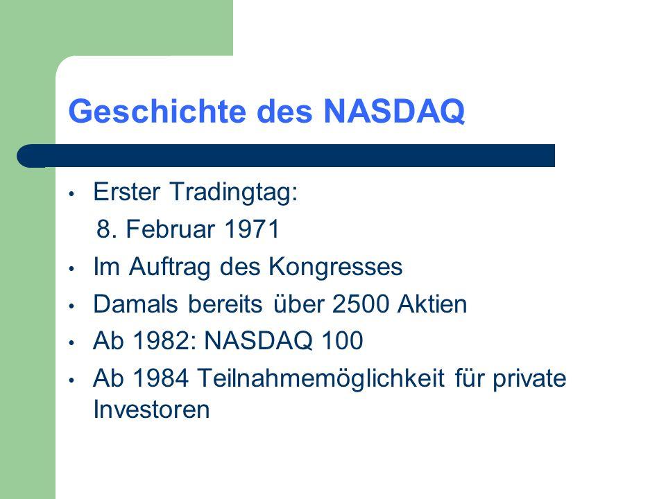 Geschichte des NASDAQ Erster Tradingtag: 8. Februar 1971