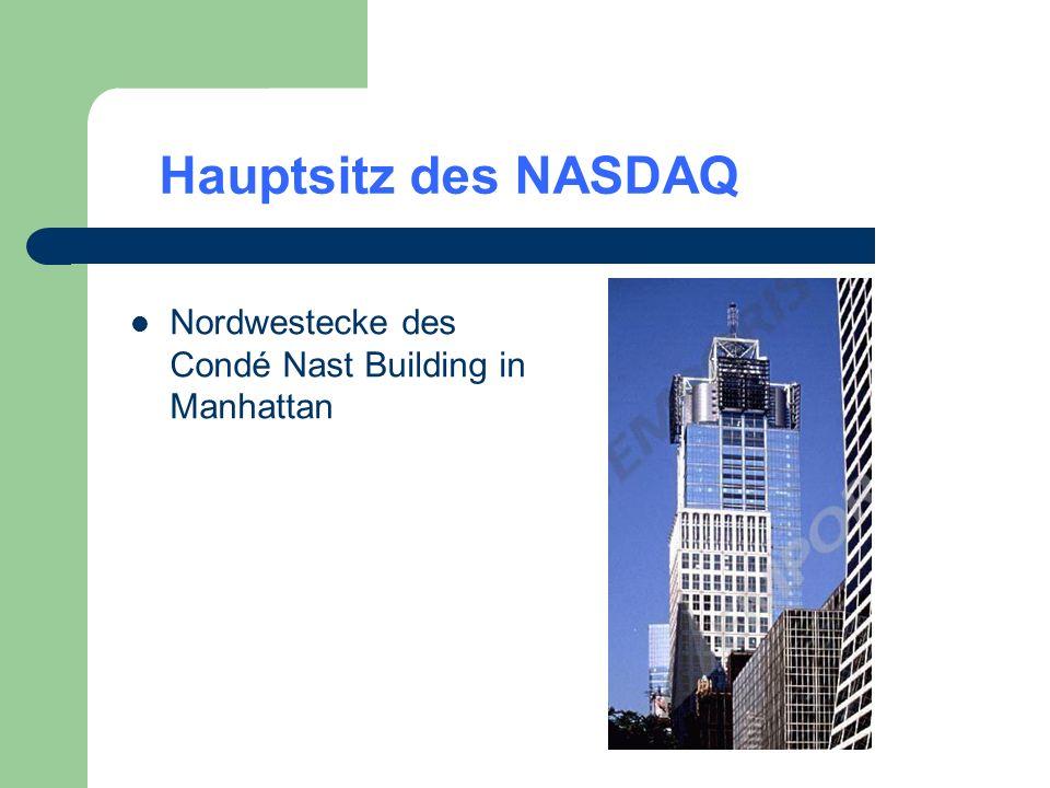 Hauptsitz des NASDAQ Nordwestecke des Condé Nast Building in Manhattan