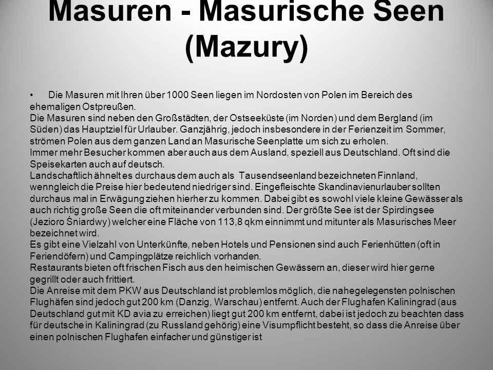 Masuren - Masurische Seen (Mazury)