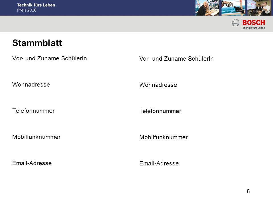 Stammblatt Vor- und Zuname SchülerIn Wohnadresse Telefonnummer