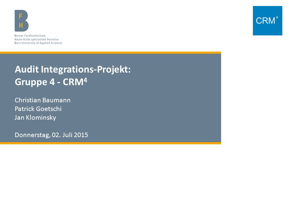 Audit Integrations-Projekt: Gruppe 4 - CRM4