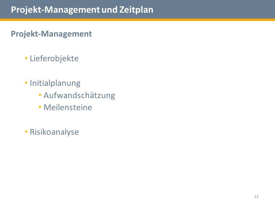 Projekt-Management und Zeitplan