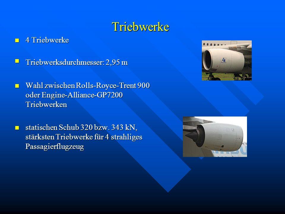 Triebwerke 4 Triebwerke Triebwerksdurchmesser: 2,95 m