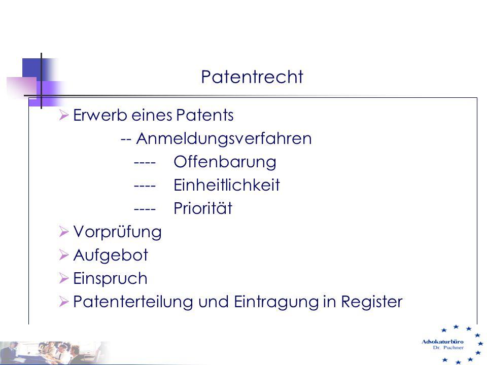 Patentrecht Erwerb eines Patents -- Anmeldungsverfahren