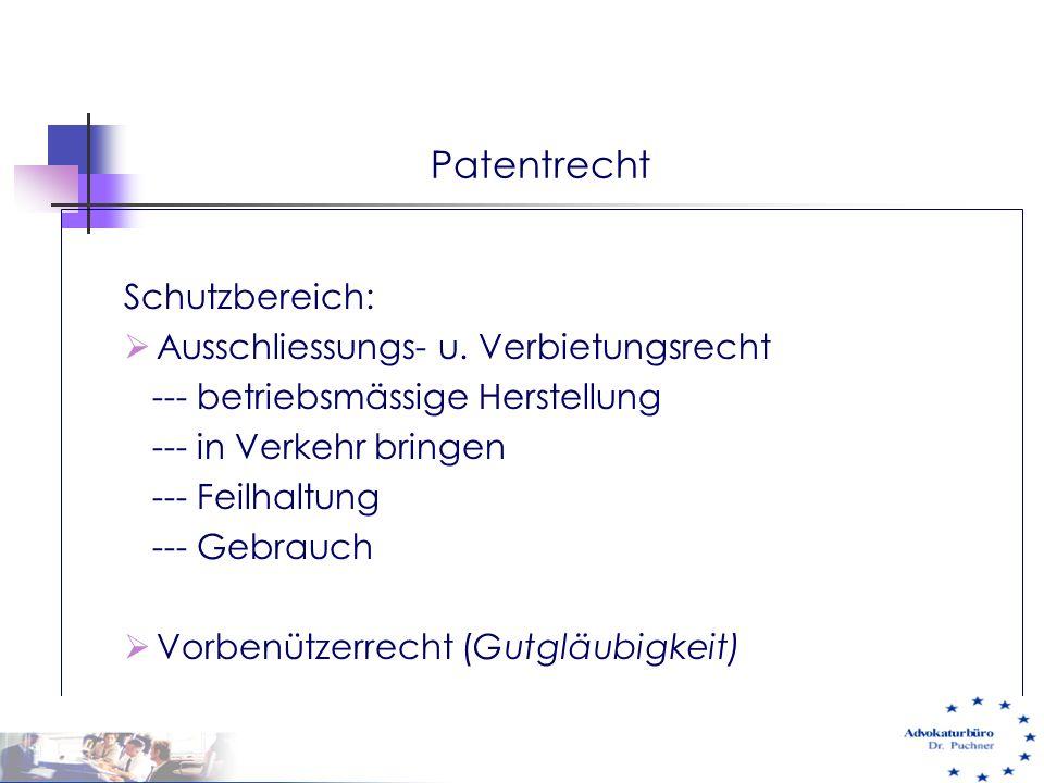 Patentrecht Schutzbereich: Ausschliessungs- u. Verbietungsrecht