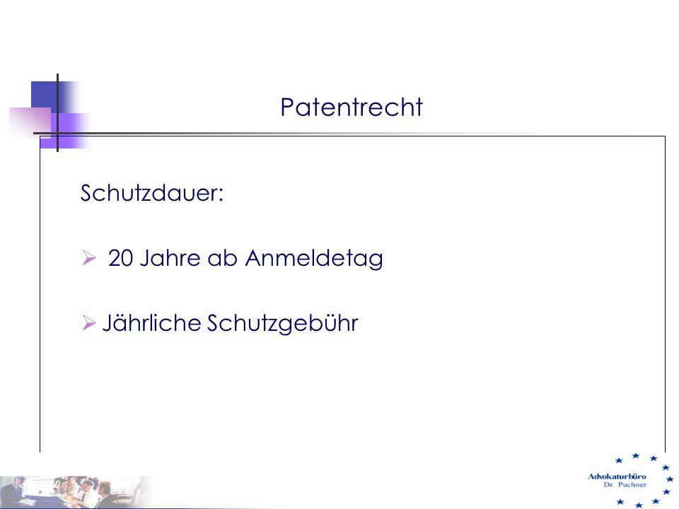 Patentrecht Schutzdauer: 20 Jahre ab Anmeldetag Jährliche Schutzgebühr