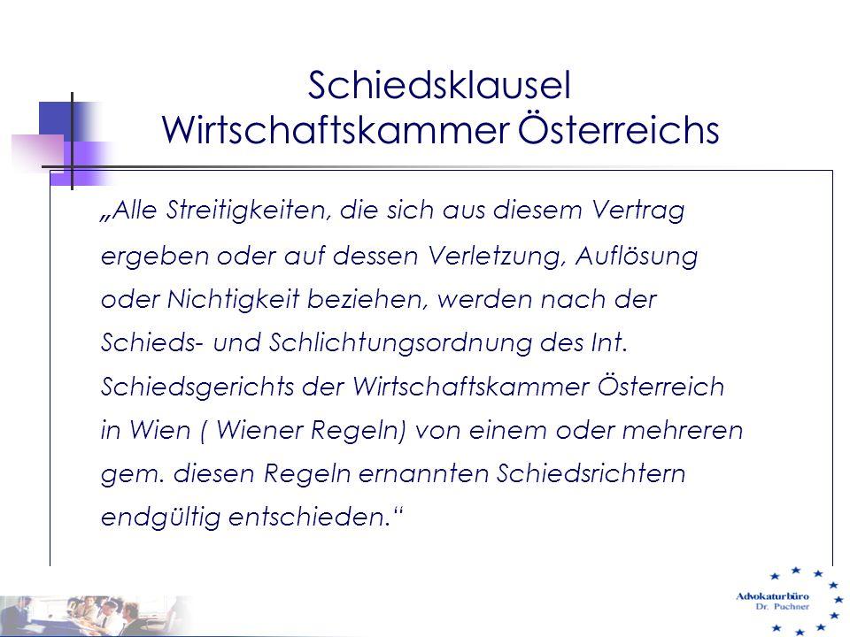 Schiedsklausel Wirtschaftskammer Österreichs