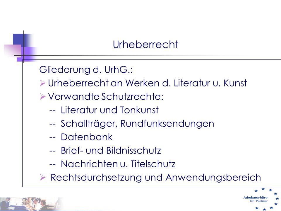 Urheberrecht Gliederung d. UrhG.:
