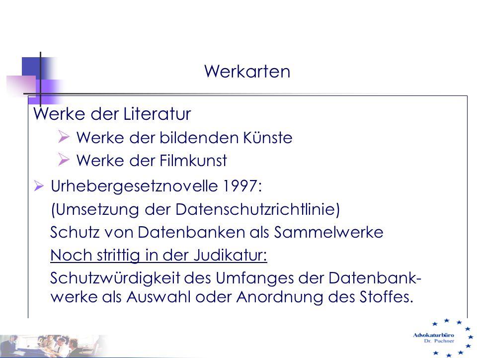 Werkarten Werke der Literatur Werke der bildenden Künste