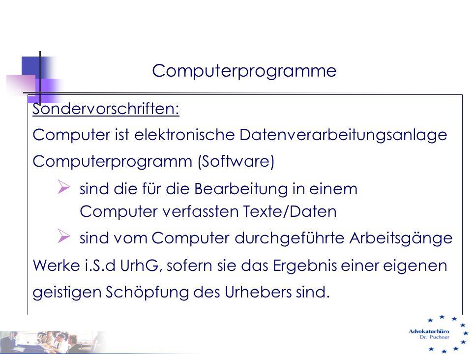 Computerprogramme Sondervorschriften: