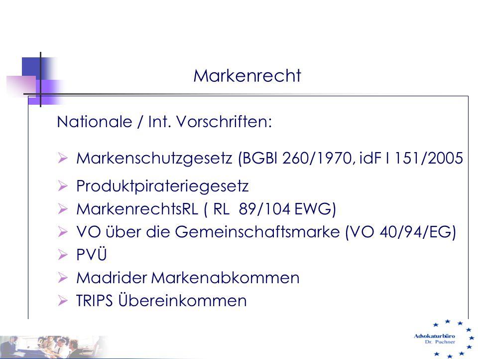 Markenrecht Nationale / Int. Vorschriften: