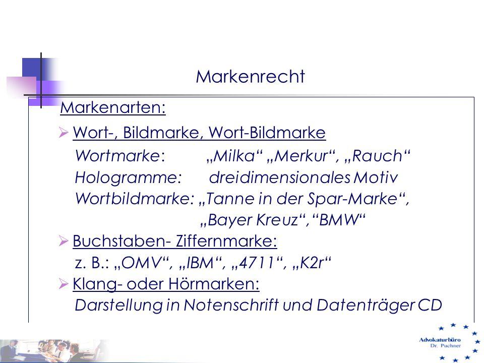 Markenrecht Markenarten: Wort-, Bildmarke, Wort-Bildmarke