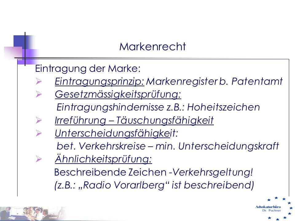 Markenrecht Eintragung der Marke: