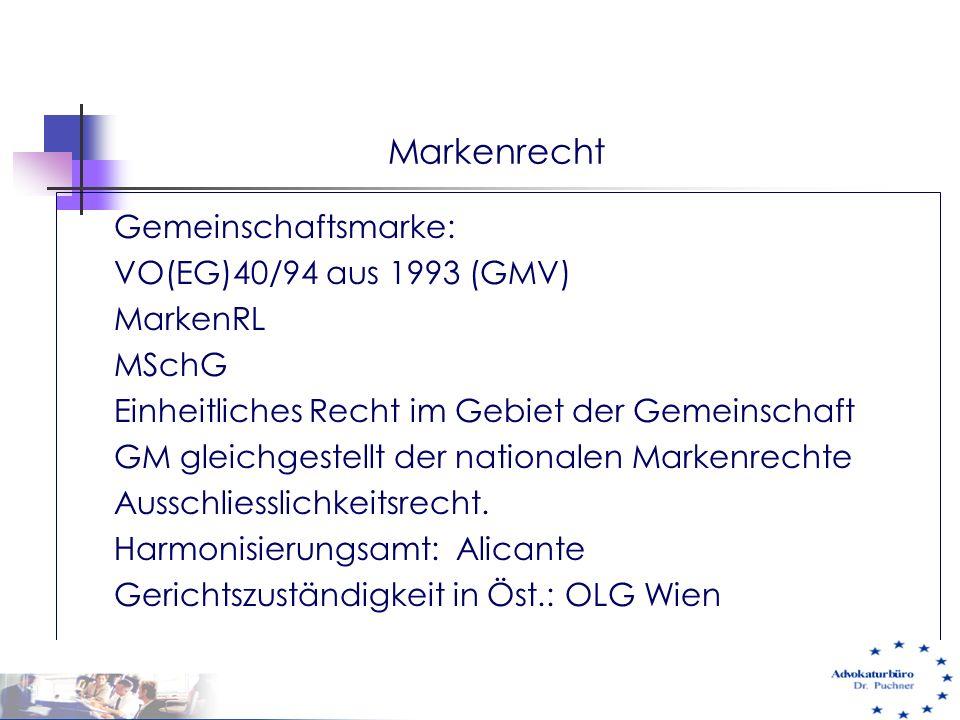 Markenrecht Gemeinschaftsmarke: VO(EG)40/94 aus 1993 (GMV) MarkenRL