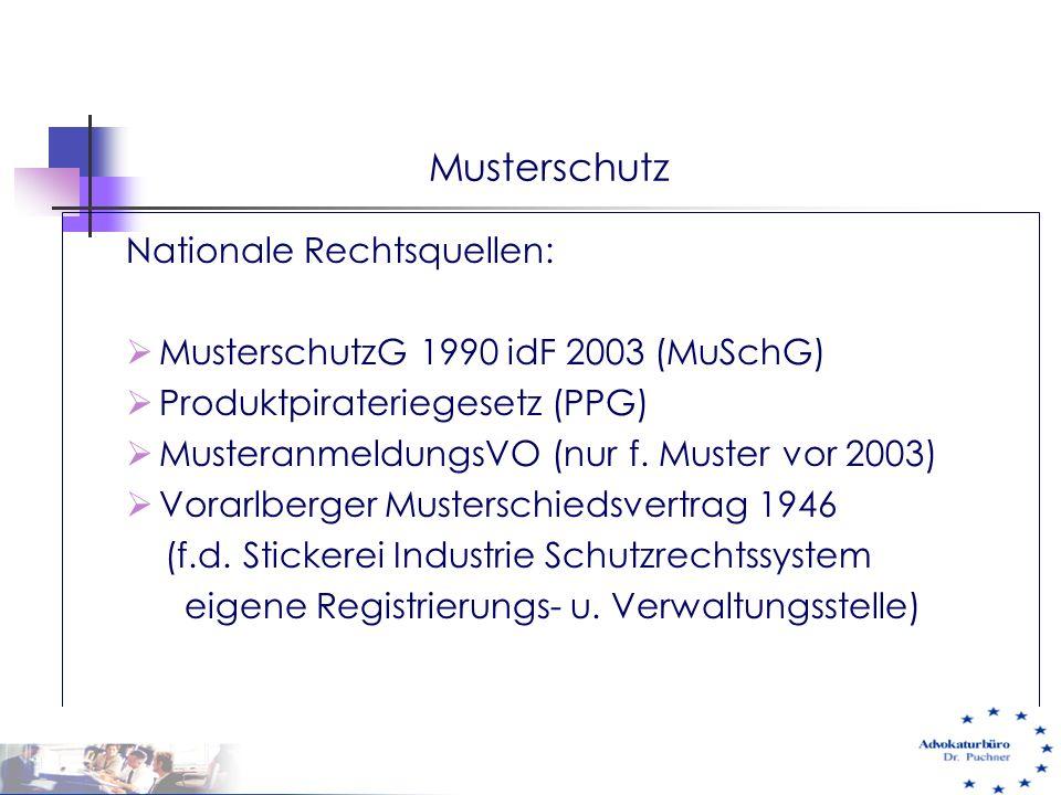 Musterschutz Nationale Rechtsquellen: