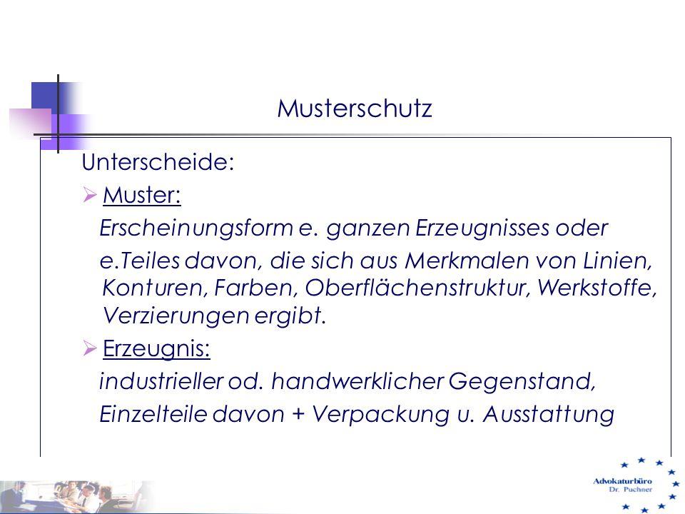 Musterschutz Unterscheide: Muster: