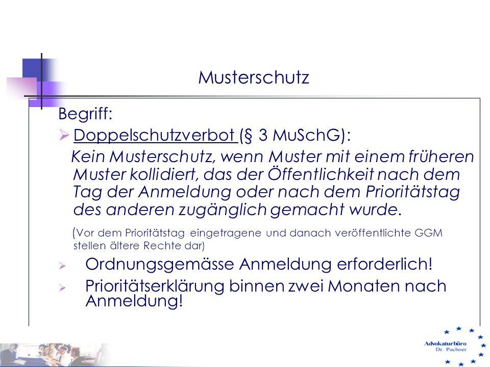 Musterschutz Begriff: Doppelschutzverbot (§ 3 MuSchG):