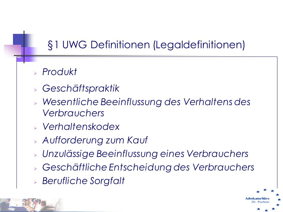 §1 UWG Definitionen (Legaldefinitionen)