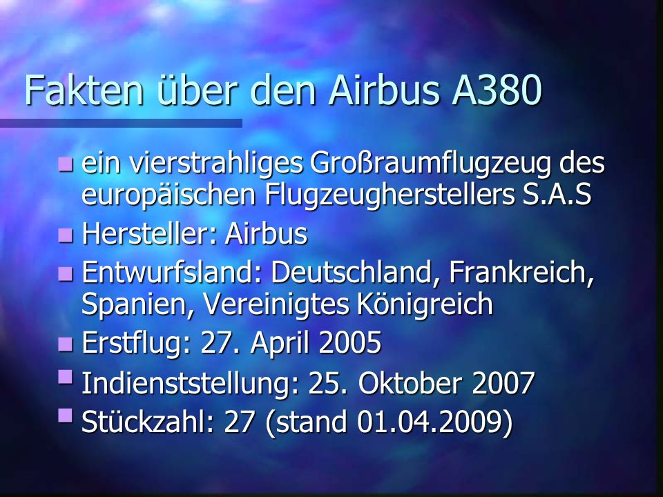Fakten über den Airbus A380