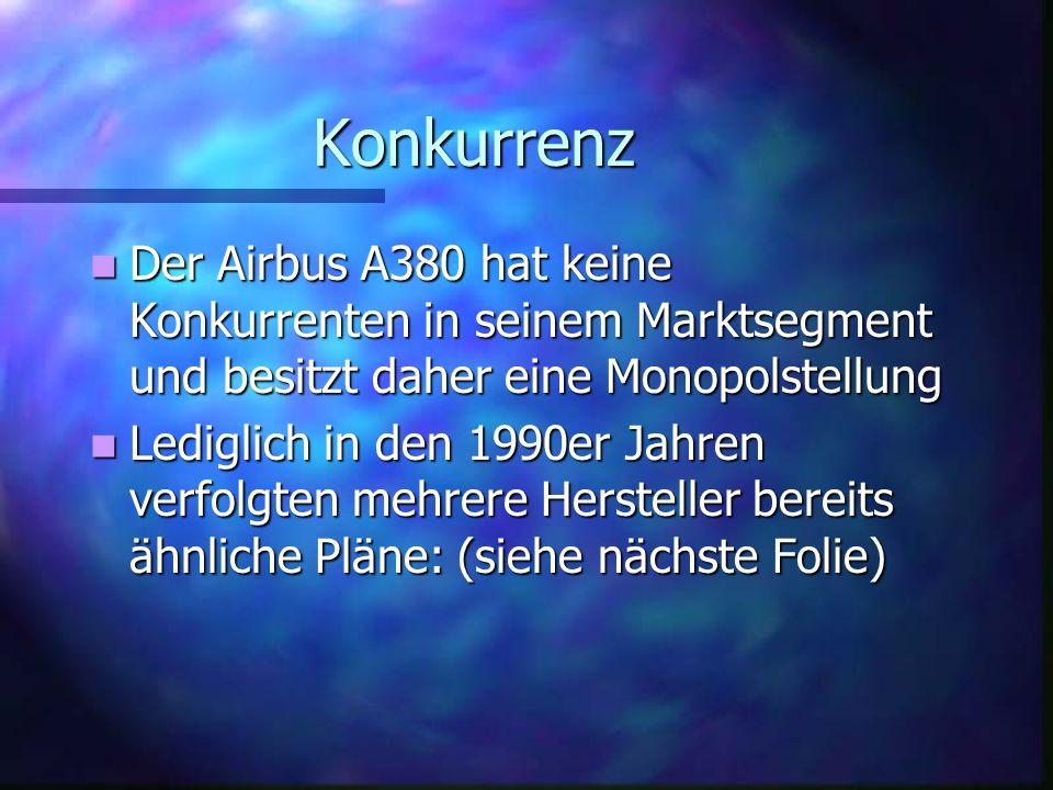 Konkurrenz Der Airbus A380 hat keine Konkurrenten in seinem Marktsegment und besitzt daher eine Monopolstellung.