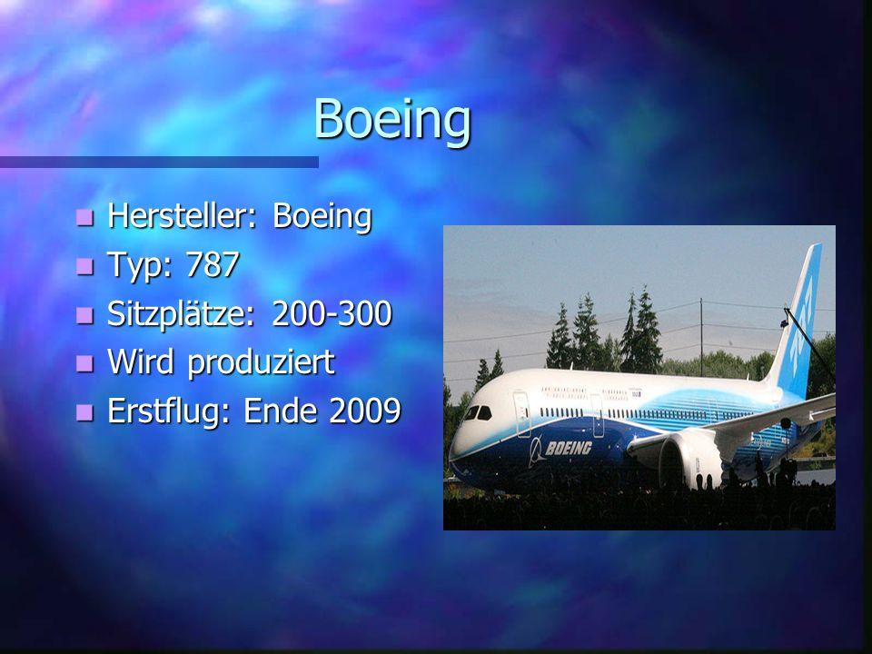 Boeing Hersteller: Boeing Typ: 787 Sitzplätze: 200-300 Wird produziert